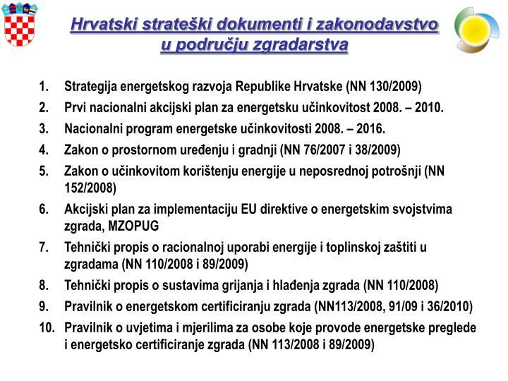 Hrvatski strateški dokumenti i zakonodavstvo