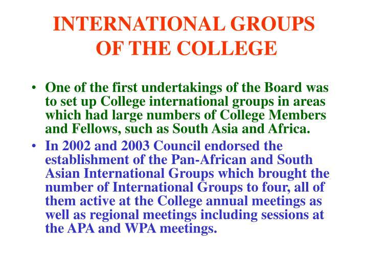 INTERNATIONAL GROUPS