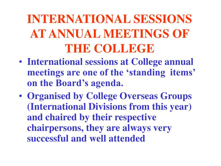 INTERNATIONAL SESSIONS