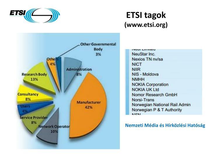 ETSI tagok