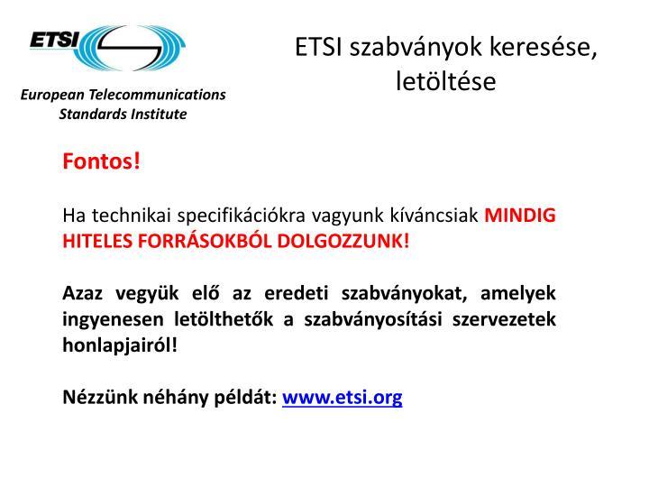 ETSI szabványok keresése, letöltése