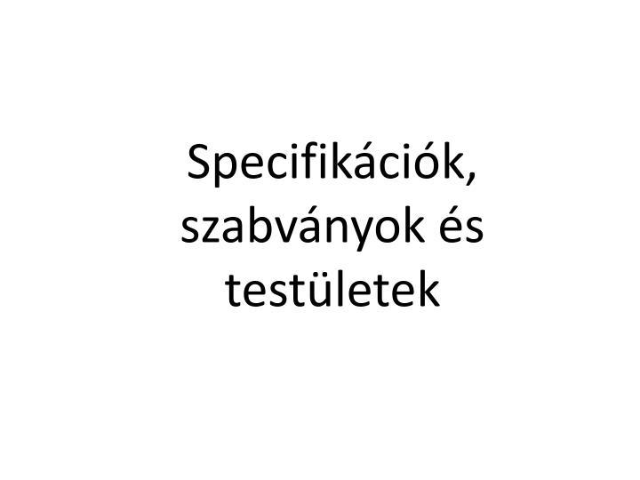 Specifikációk, szabványok