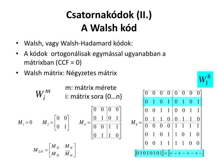 Csatornakódok (II.)