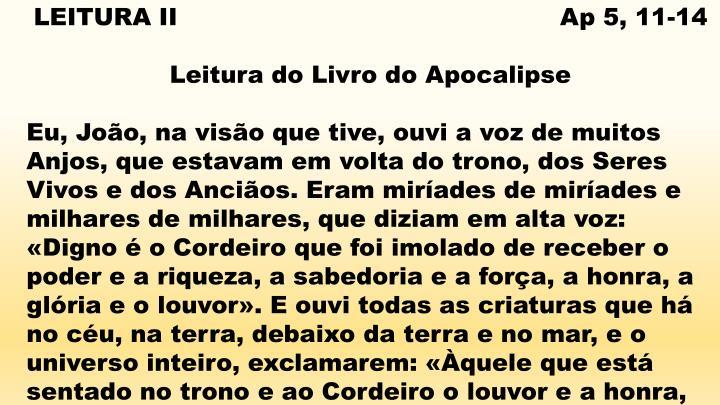 LEITURA II                                                Ap 5, 11-14