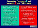 conceptual framework and obstacles for a tnt strategy