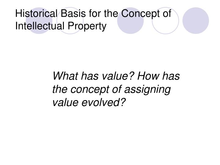 Historical Basis for the Concept of Intellectual Property