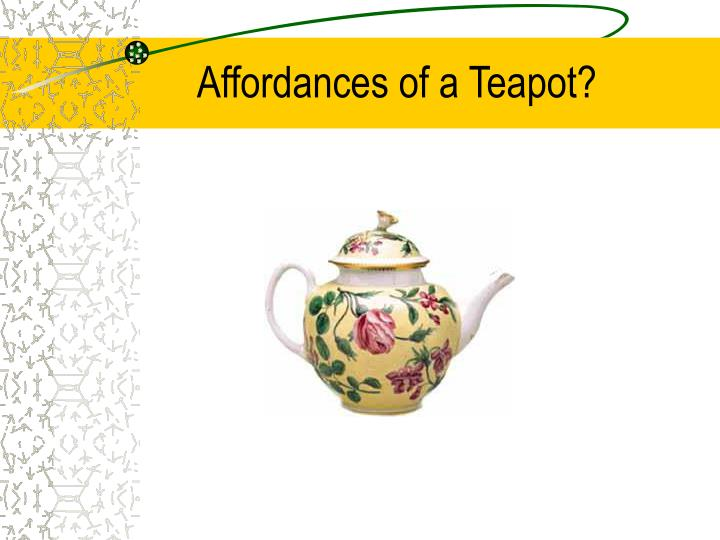 Affordances of a Teapot?