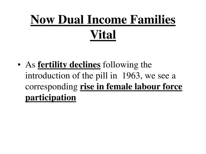 Now Dual Income Families Vital