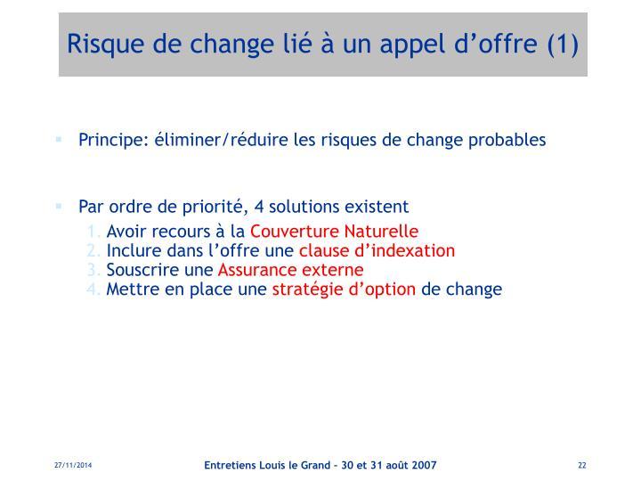 Risque de change lié à un appel d'offre (1)