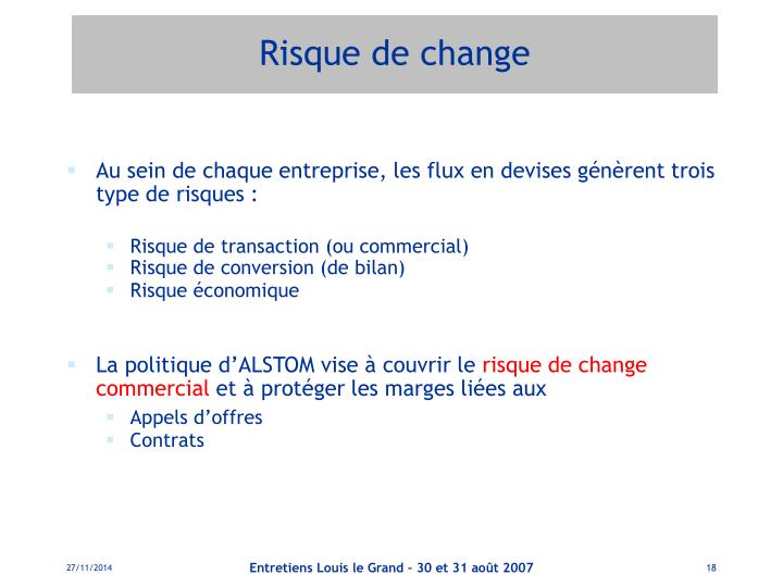 Risque de change