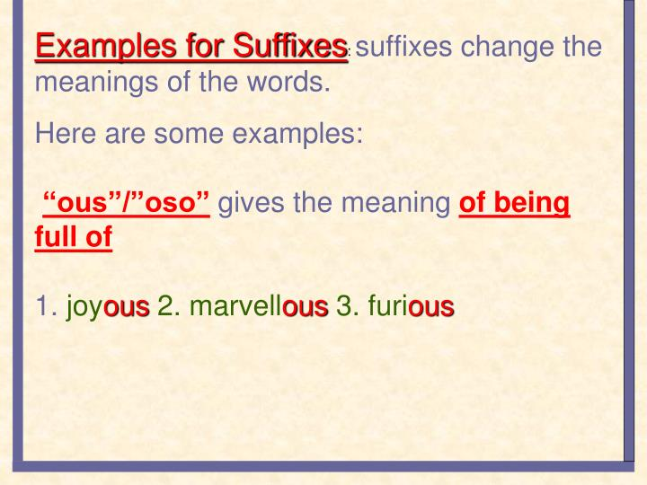 Examples for Suffixes