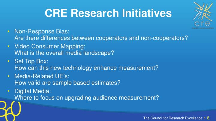 CRE Research Initiatives