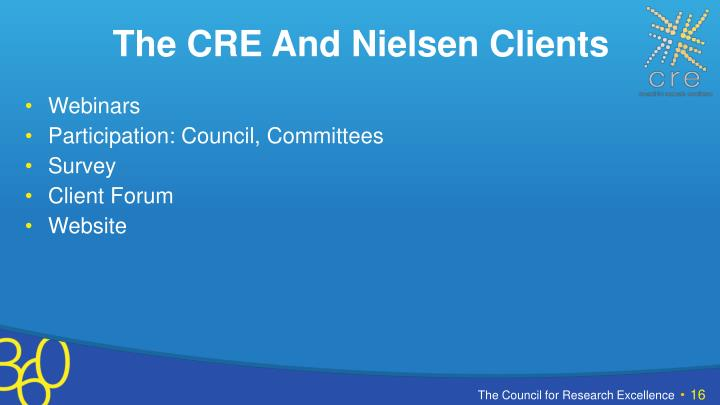 The CRE And Nielsen Clients