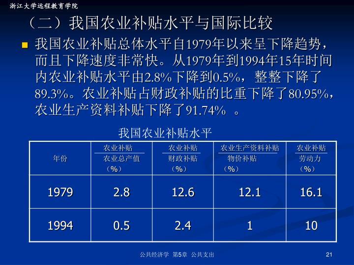 (二)我国农业补贴水平与国际比较