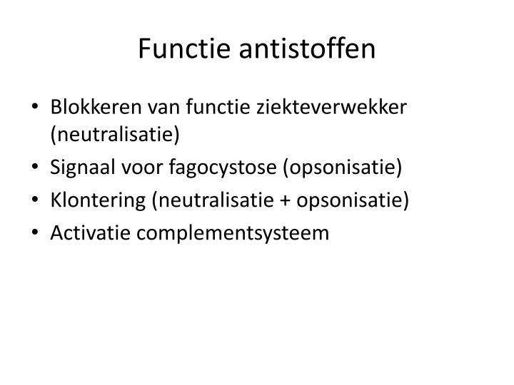 Functie antistoffen