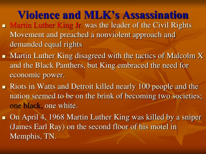 Violence and MLK's Assassination