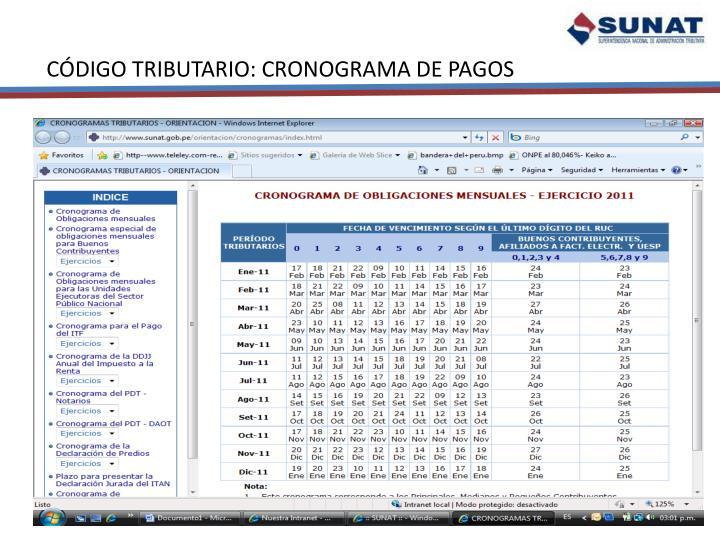 CÓDIGO TRIBUTARIO: CRONOGRAMA DE PAGOS