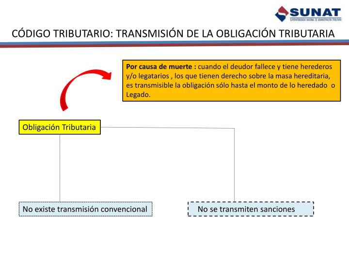 CÓDIGO TRIBUTARIO: TRANSMISIÓN DE LA OBLIGACIÓN TRIBUTARIA