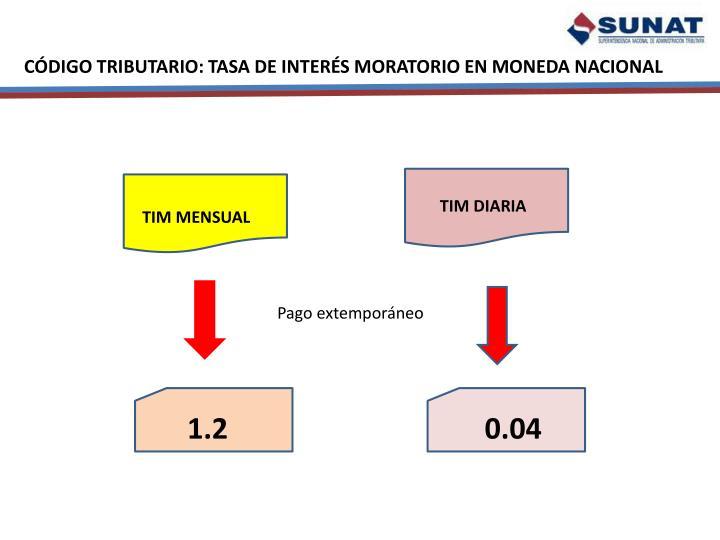 CÓDIGO TRIBUTARIO: TASA DE INTERÉS MORATORIO EN MONEDA NACIONAL