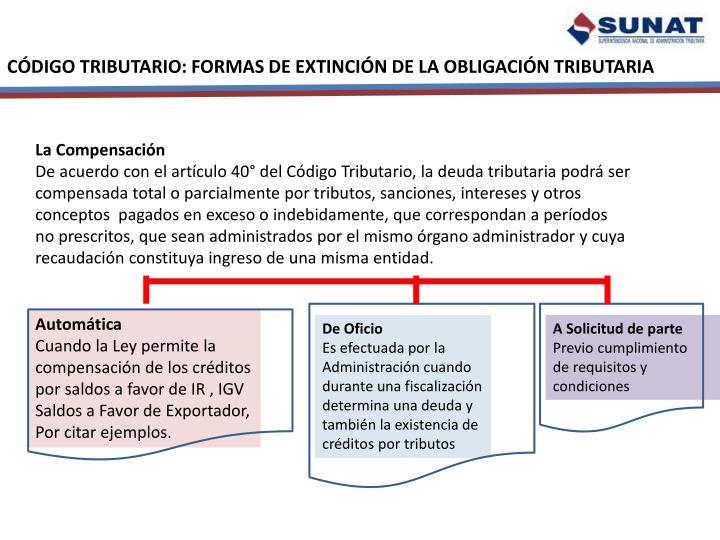 CÓDIGO TRIBUTARIO: FORMAS DE EXTINCIÓN DE LA OBLIGACIÓN TRIBUTARIA