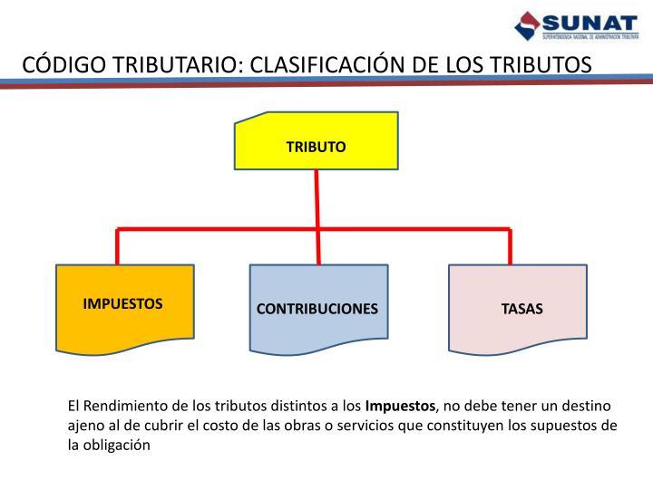 CÓDIGO TRIBUTARIO: CLASIFICACIÓN DE LOS TRIBUTOS