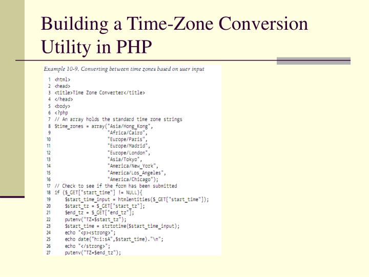 Building a Time-Zone Conversion Utility in PHP