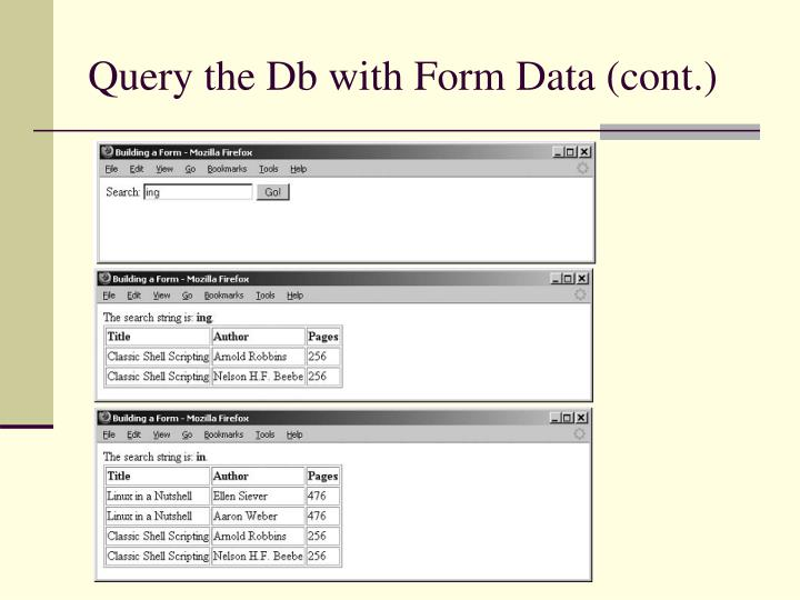 Query the Db with Form Data (cont.)