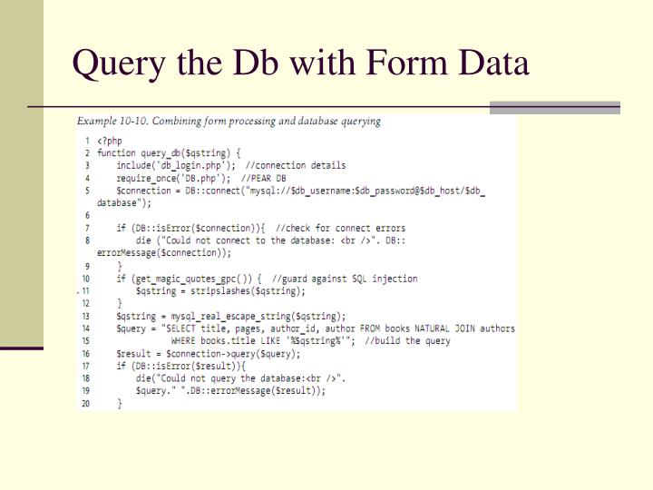 Query the Db with Form Data