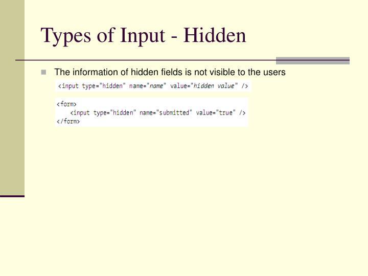Types of Input - Hidden