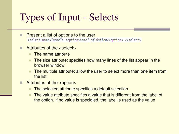 Types of Input - Selects