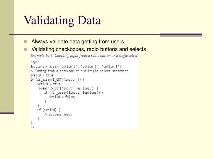 Validating Data