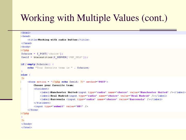 Working with Multiple Values (cont.)