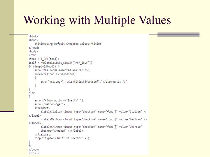 Working with Multiple Values