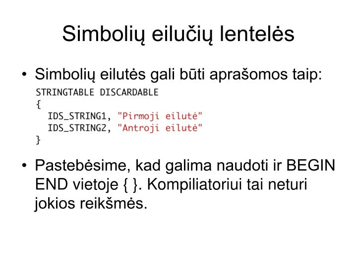 Simboli eilui lentels