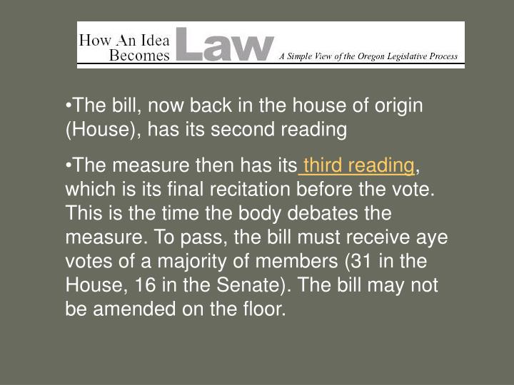 The bill, now back in the house of origin (House), has its second reading