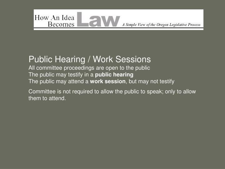 Public Hearing / Work Sessions