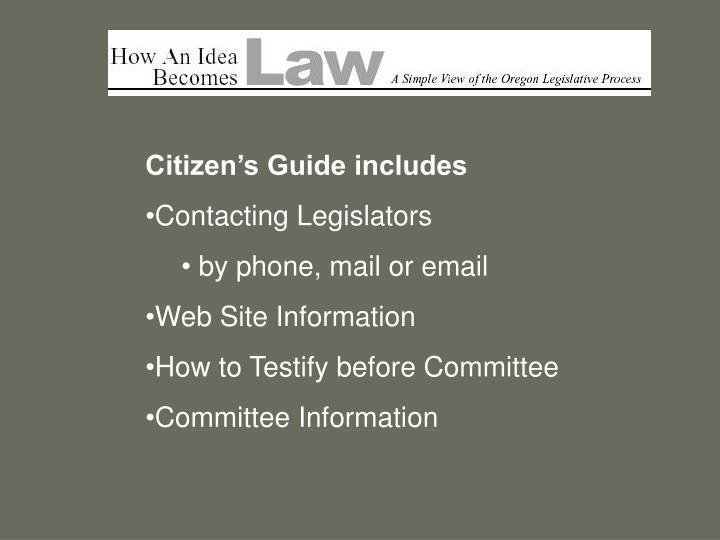 Citizen's Guide includes