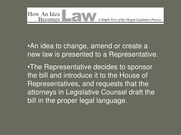 An idea to change, amend or create a new law is presented to a Representative.