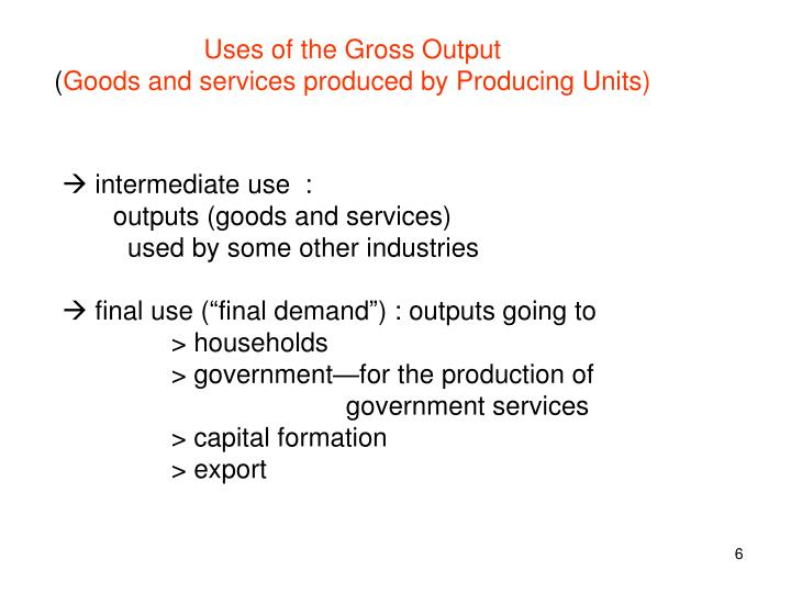 Uses of the Gross Output