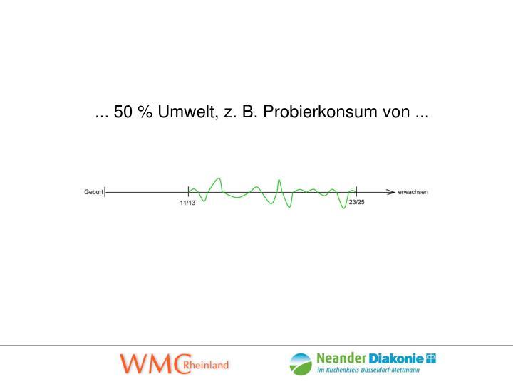 ... 50 % Umwelt, z. B. Probierkonsum von ...