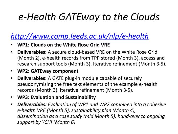 e-Health GATEway to the Clouds