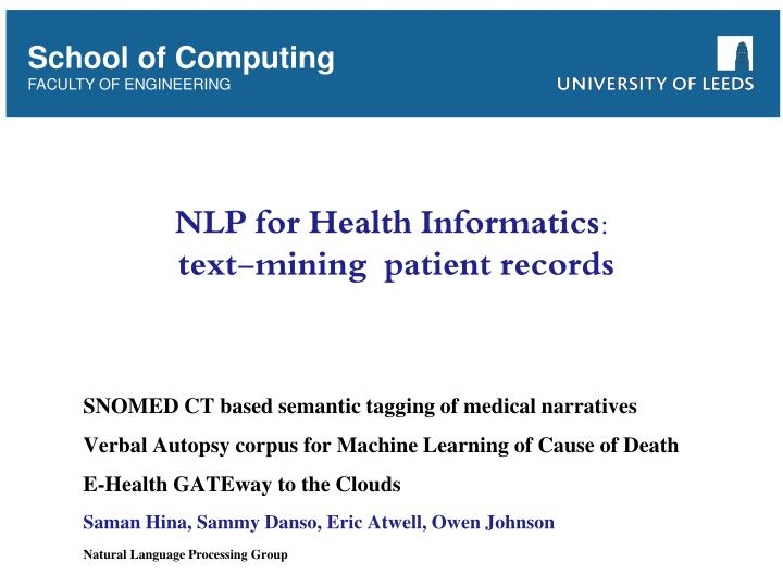 nlp for health informatics text mining patient records