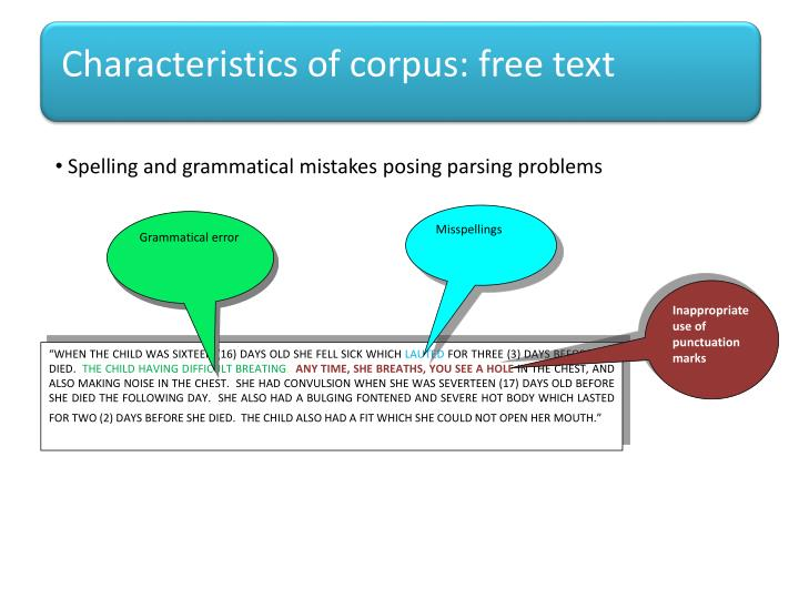 Characteristics of corpus: free text