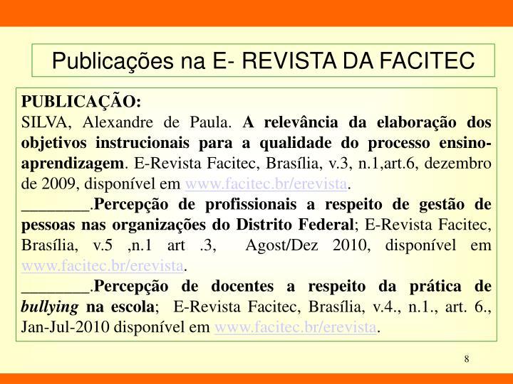 Publicações na E- REVISTA DA FACITEC