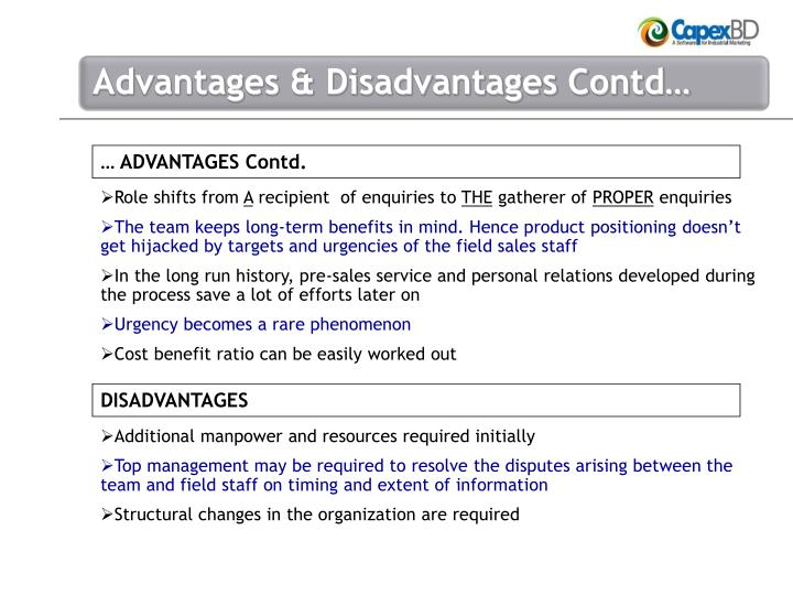 … ADVANTAGES Contd.