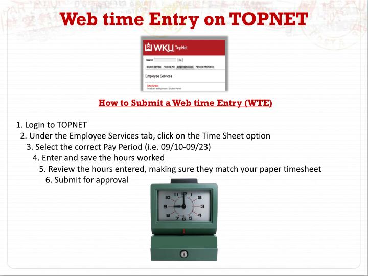 Web time Entry on TOPNET
