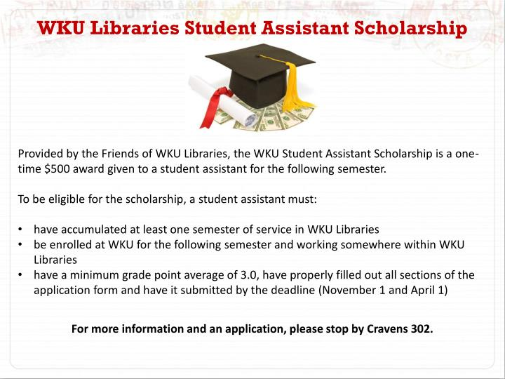 WKU Libraries Student Assistant Scholarship