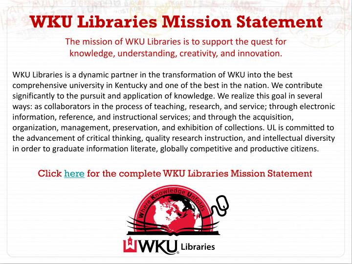 WKU Libraries Mission Statement