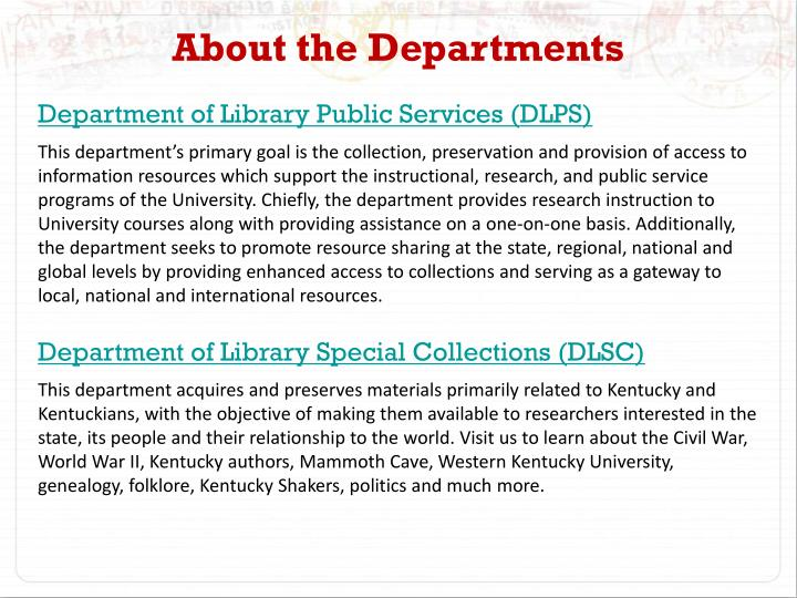 About the Departments