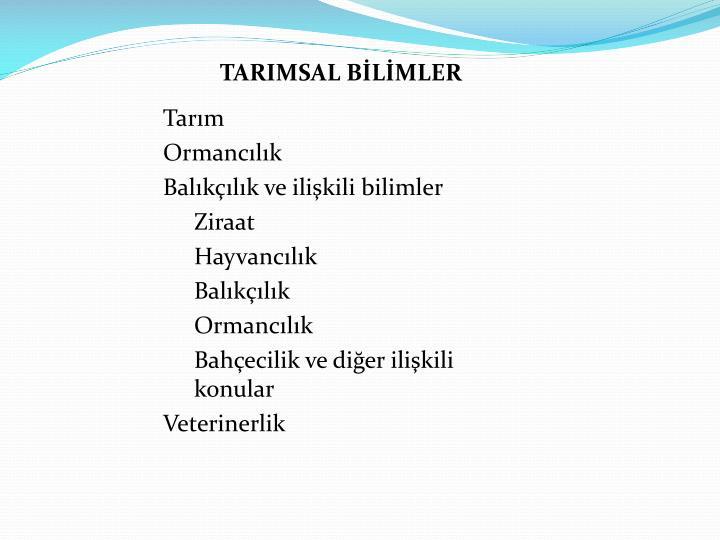 TARIMSAL BİLİMLER
